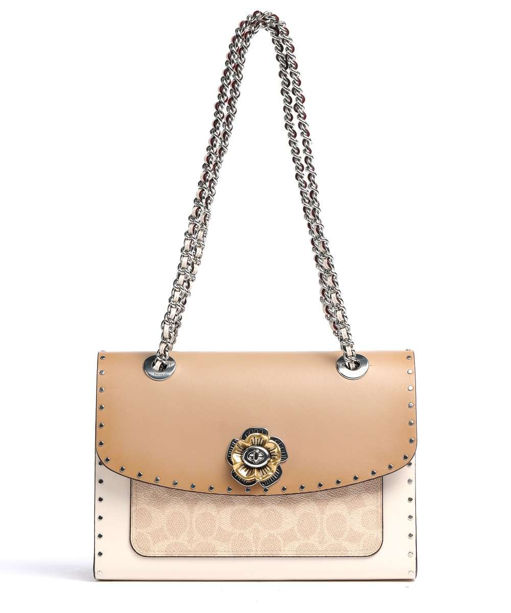 Parker Crossbody bag grained cow leather beige/white