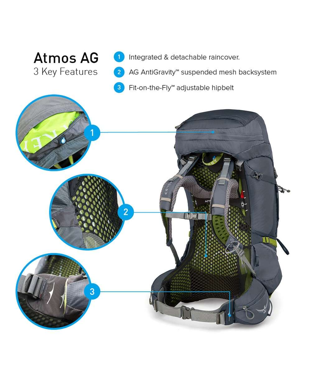 Osprey Atmos AG 50 Back length M Trekkingrucksack grau-5-100-0-2-01 Preview