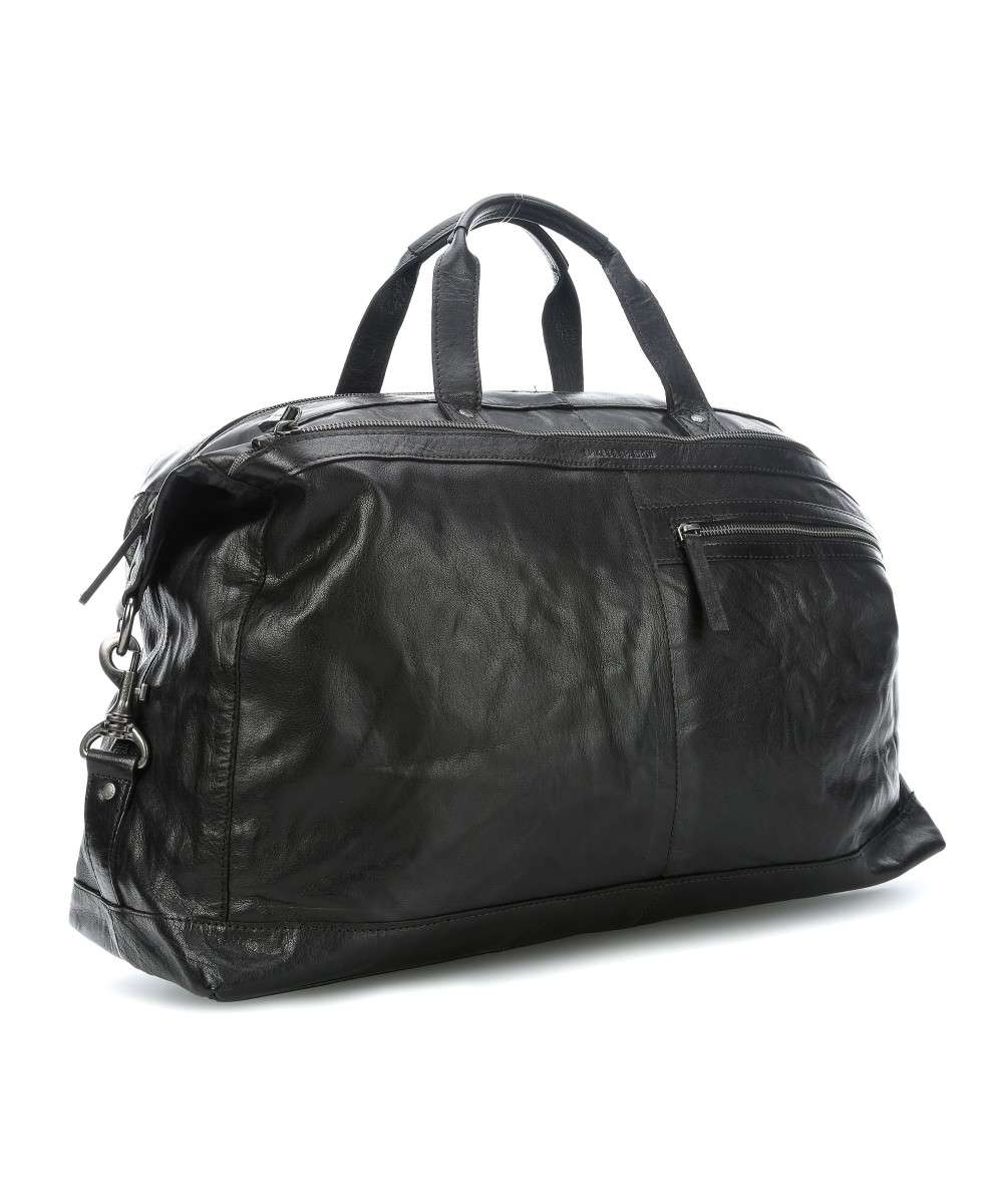 Spikes & Sparrow Bronco Sac weekend grainé cuir de buffle d'eau noir