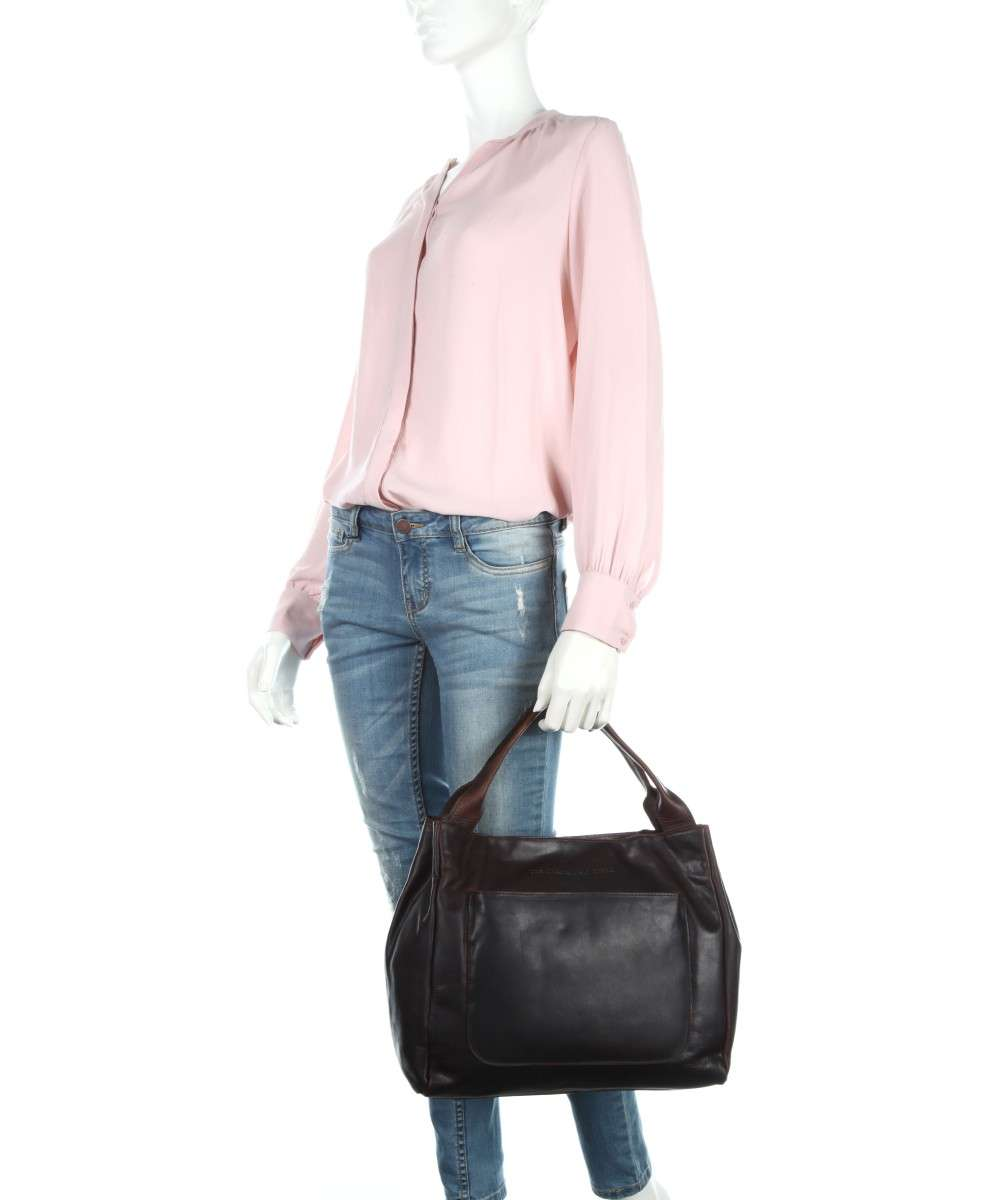 pull The Borsa Chesterfield a vacchetta Brand up marrone mano di scuro pelle Cardiff qSCwOxqUZ